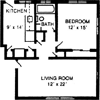 One bedroom, one bath at Charlesbank Garden Apartments in Waltham, Massachusetts